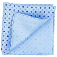 Blue Macclesfield Neat Print Hand-Rolled Pocket Square B14 - Exquisite Trimmings