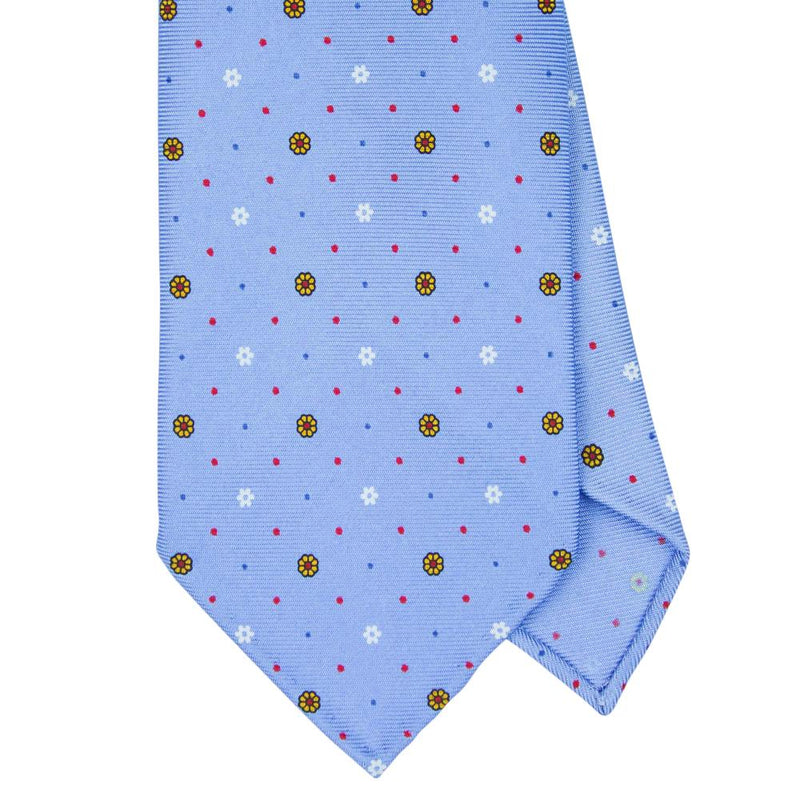Blue Macclesfield Print 36oz Silk Ties 8cm B15 - Exquisite Trimmings