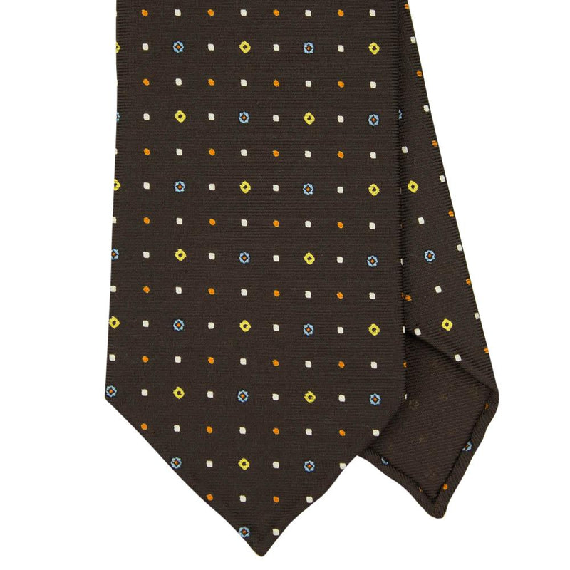 Brown Macclesfield Print 36oz Silk Ties 8cm BR4 - Exquisite Trimmings
