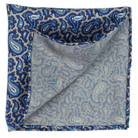 Grey Macclesfield Neat Print Hand-Rolled Pocket Square G1 - Exquisite Trimmings