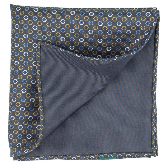 Grey Macclesfield Neat Print Hand-Rolled Pocket Square G4 - Exquisite Trimmings