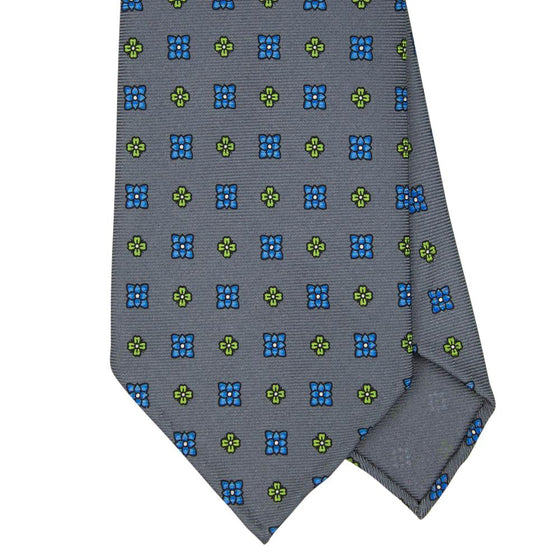 Grey Macclesfield Print 36oz Silk Ties 8cm G10 - Exquisite Trimmings