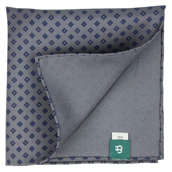 Grey Macclesfield Neat Print Hand-Rolled Pocket Square G12 - Exquisite Trimmings