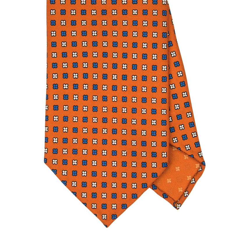 Orange Macclesfield Print 36oz 7-Fold Silk Tie 8cm O3 - Exquisite Trimmings
