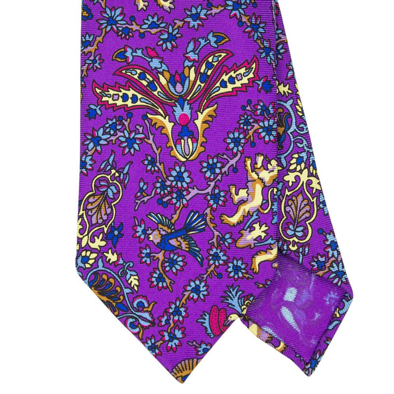 Purple Macclesfield Print 36oz Silk Ties 8cm P7 - Exquisite Trimmings