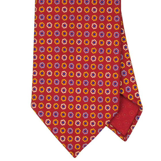Red Macclesfield Print 36oz 3-Fold Silk Tie 8cm R2 - Exquisite Trimmings