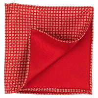 Red Macclesfield Neat Print Hand-Rolled Pocket Square R6 - Exquisite Trimmings