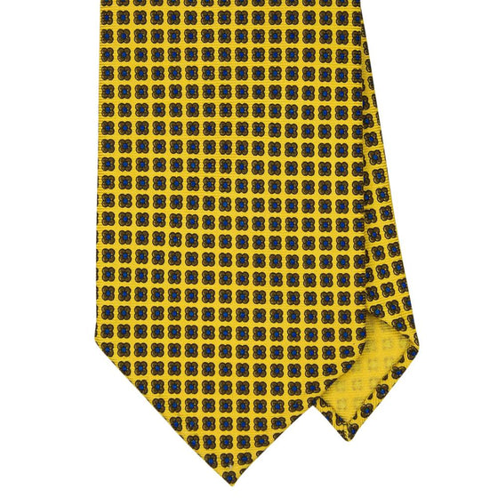 Yellow Macclesfield Print 36oz Silk Ties 8cm Y3 - Exquisite Trimmings