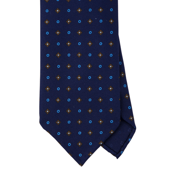 Navy Macclesfield Print 36oz Silk Ties N101 (8cm & 9cm) - Exquisite Trimmings