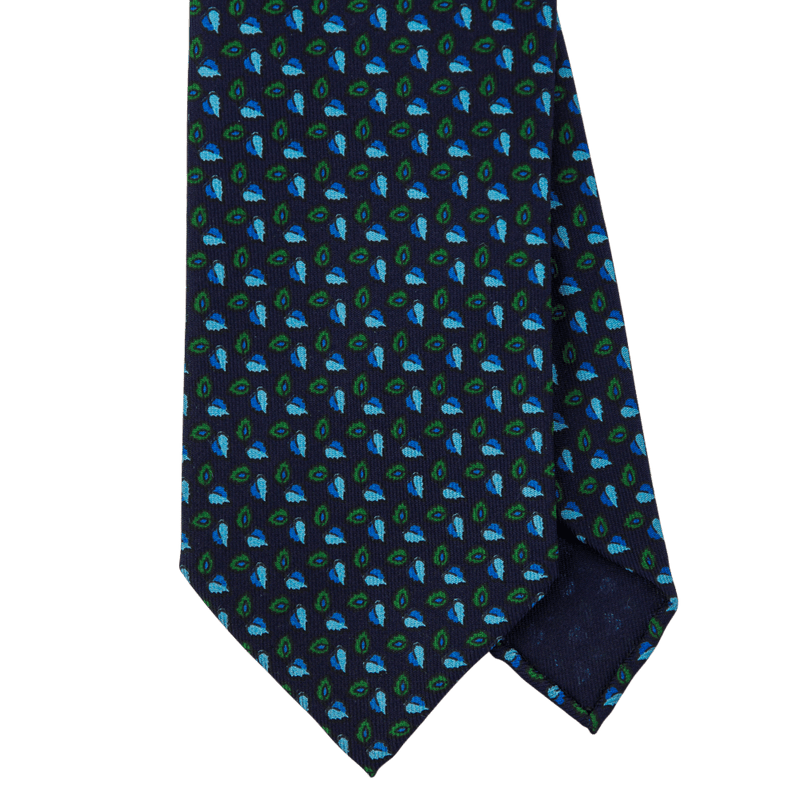 Navy Macclesfield Print 36oz Silk Ties N99 (8cm & 9cm) - Exquisite Trimmings