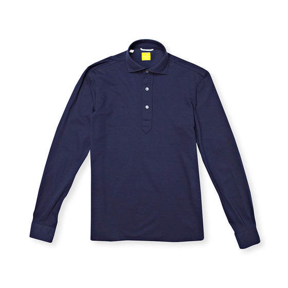 Navy Long Sleeve Cotton Polo Shirt