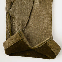 Olive Green Peccary Hand-Stitched Unlined Gloves - Exquisite Trimmings