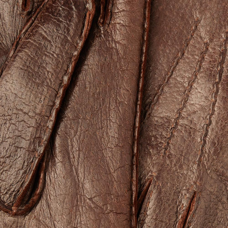 Sierra Brown Rabbit-Fur Lined Real Peccary Hand-Stitched Gloves - Exquisite Trimmings