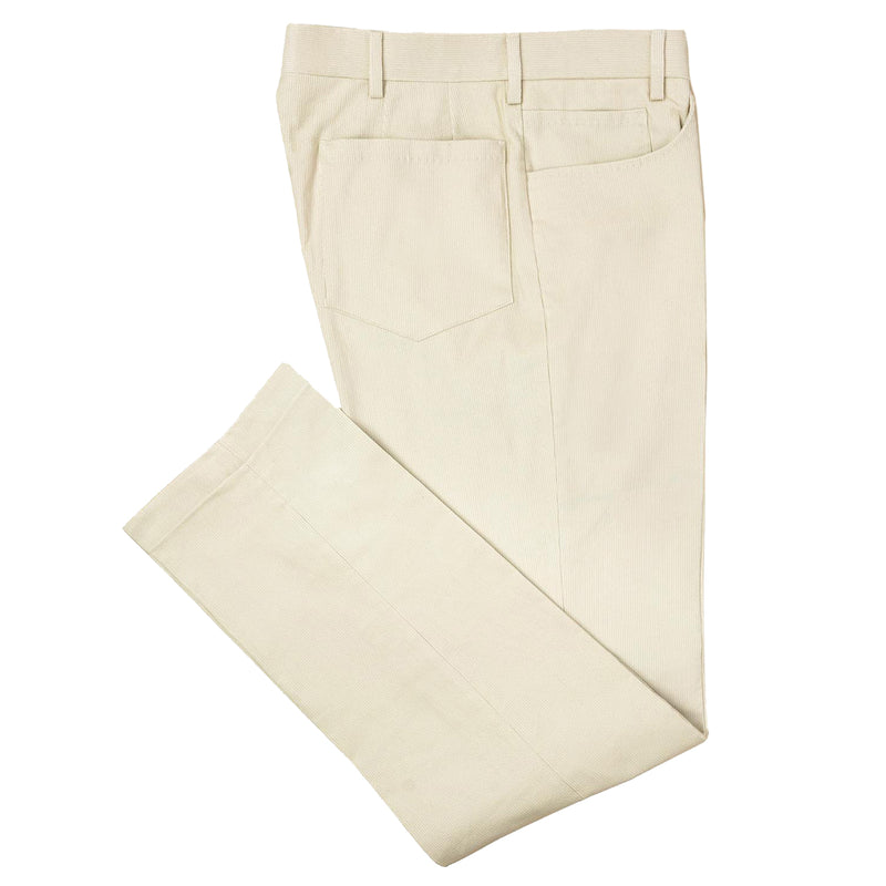 White 5 Pocket Corduroy Trousers