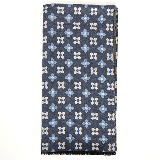 Navy Neat Floral Print Brushed Silk Scarf - Exquisite Trimmings