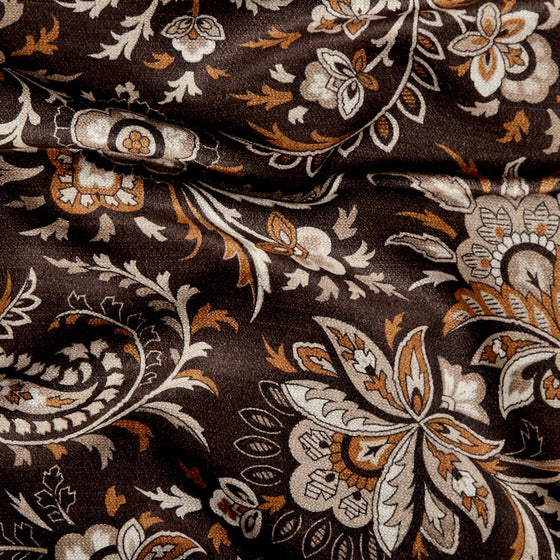 Brown Floral Print Brushed Silk Scarf - Exquisite Trimmings