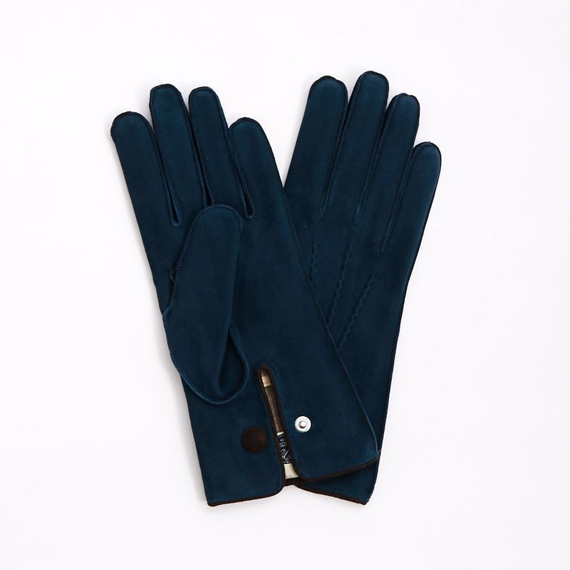 Atlantic Blue Deerskin 'Austrian General's' Gloves with Cashmere Lining - Exquisite Trimmings