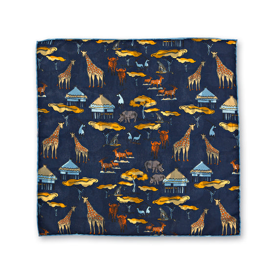 Reversible Animal Print Silk Pocket Square