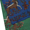 Green/Navy Unicorn Print Silk/Wool Handrolled Scarf