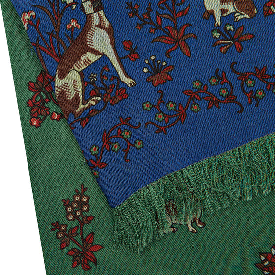 Green/Blue Unicorn Print Silk/Wool Double-Sided Scarf