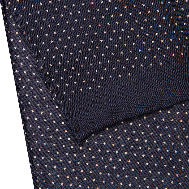 Navy Spot Print Silk/Wool Handrolled Scarf