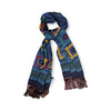 Navy Large Tile Motif Madder Silk Scarf with Hand Tied Tassels