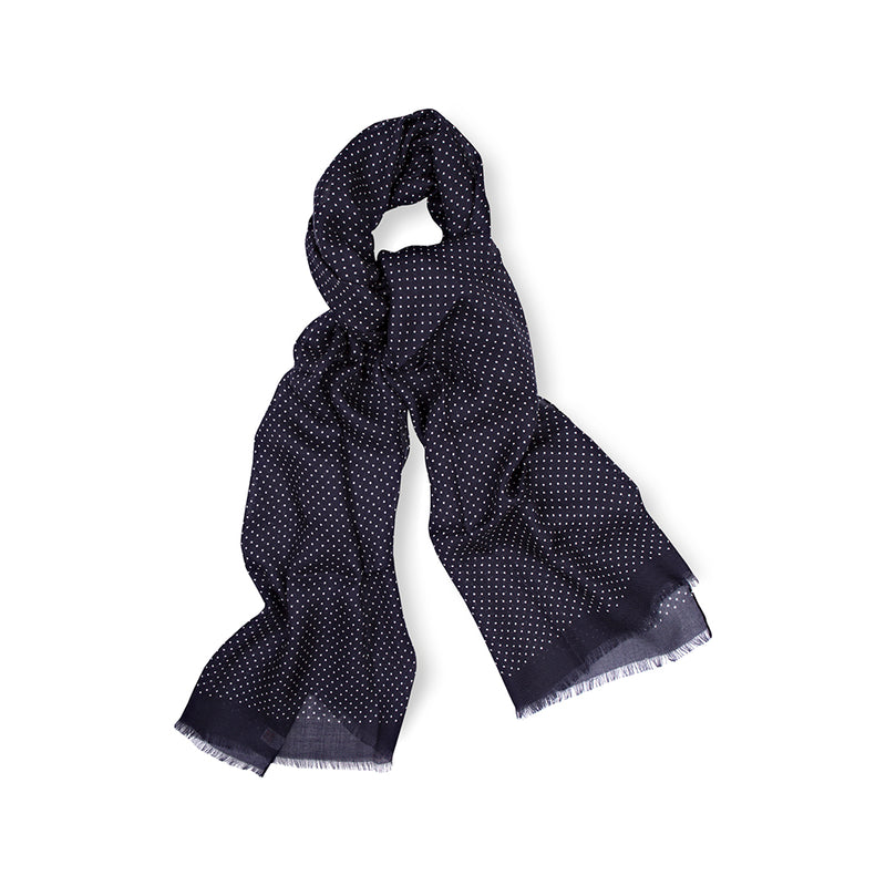 Navy Spot Print Cashmere Handrolled Scarf
