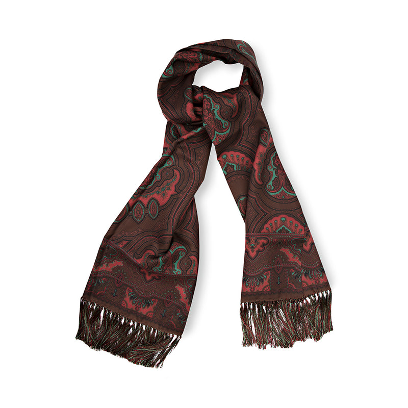 Burgundy Museum Paisley Madder Silk Scarf with Hand Tied Tassels