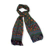 Green Aztec Print Madder Silk Scarf with Hand Tied Tassels
