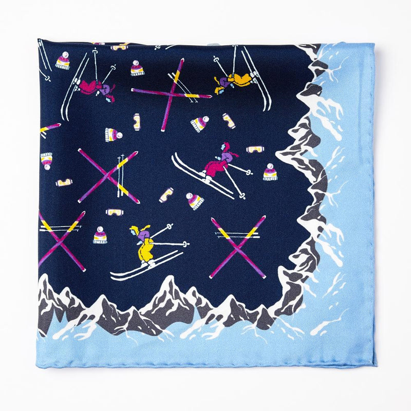 Navy Ski Print Silk Pocket Square - Exquisite Trimmings