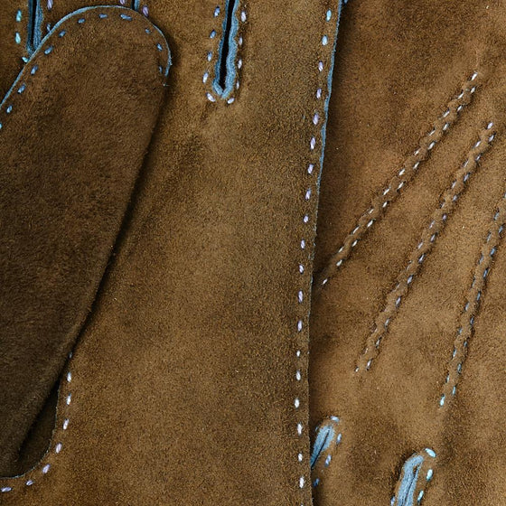 Loden Green Hand-Stitched Goat Skin Suede Gloves - Exquisite Trimmings