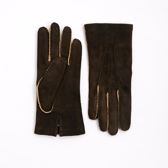 Walnut Brown Hand-Stitched Goat Skin Suede Gloves - Exquisite Trimmings