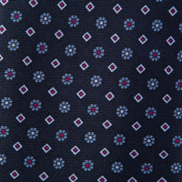 Navy Floral Neat Print Self-Tipped Silk 8cm Tie