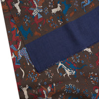 Brown Mughal Hunting Scene Yak Wool Scarf