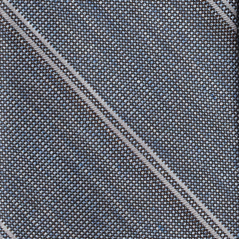 '+ F. Marino Blue and White Silk Boucle Stripe Tie - Exquisite Trimmings