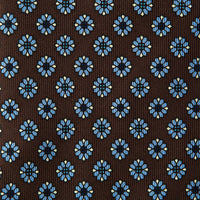 Brown Floral Print Silk Tie