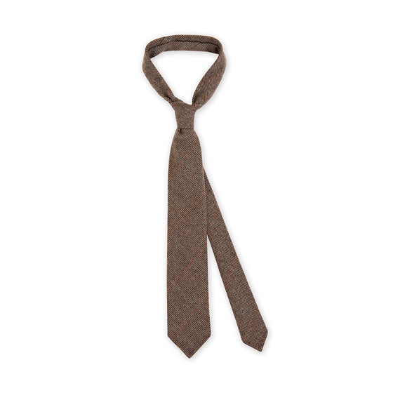 + F. Marino Brown Cashmere Checked Tie