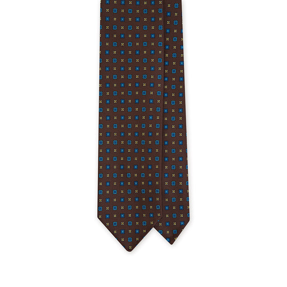 + F. Marino Brown Box Motif Printed Silk Tie