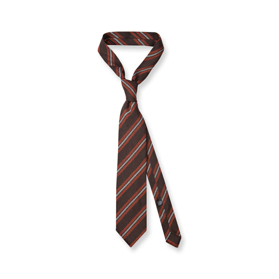 Brown/Orange Stripe Cashmere Tie
