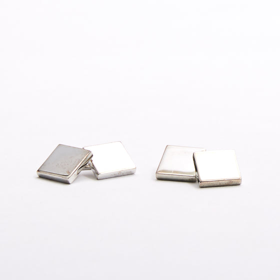 Square Silver Shield Cufflinks
