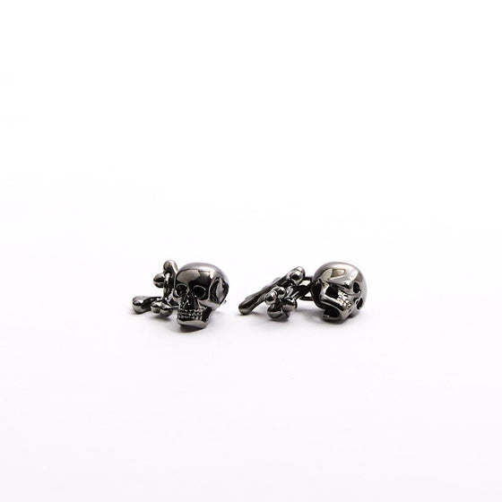 Skull and Cross Bone Gun Metal Cufflinks - Exquisite Trimmings