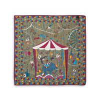 Olive Circus Print Wool-Silk Pocket Square