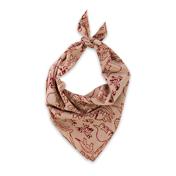 Taupe Dinosaur Print Natural Dyed Hand Block Neckerchief