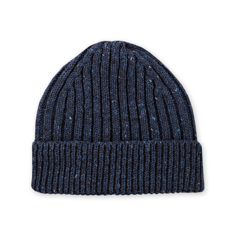 Dark Blue Donegal Wool Ribbed 2 Gauge Knit Hat