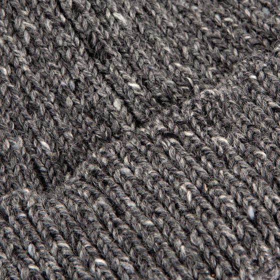 Grey Donegal Wool Ribbed 2 Gauge Knit Hat