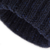 Navy Donegal Wool Ribbed 3 Gauge Knit Hat