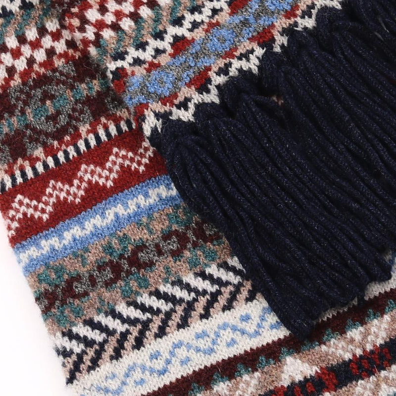 Fair Isle Wool Scarf with Navy Hand-Tied Tassels - Exquisite Trimmings