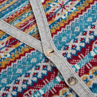 Grey Mix Fair Isle Pure Wool Buttoned Vest