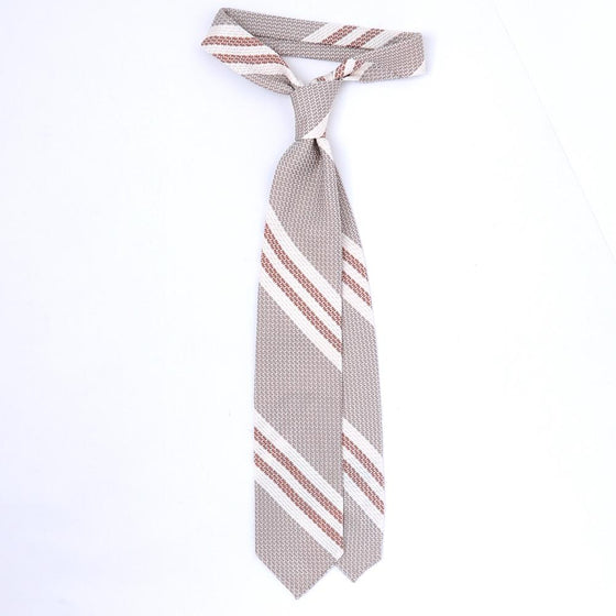 '+ F. Marino Light Brown and Orange Stripe Large Weave Grenadine Tie - Exquisite Trimmings
