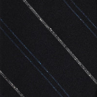 '+ F. Marino Navy Fine Stripe Hand Rolled Silk Jacquard Tie - Exquisite Trimmings